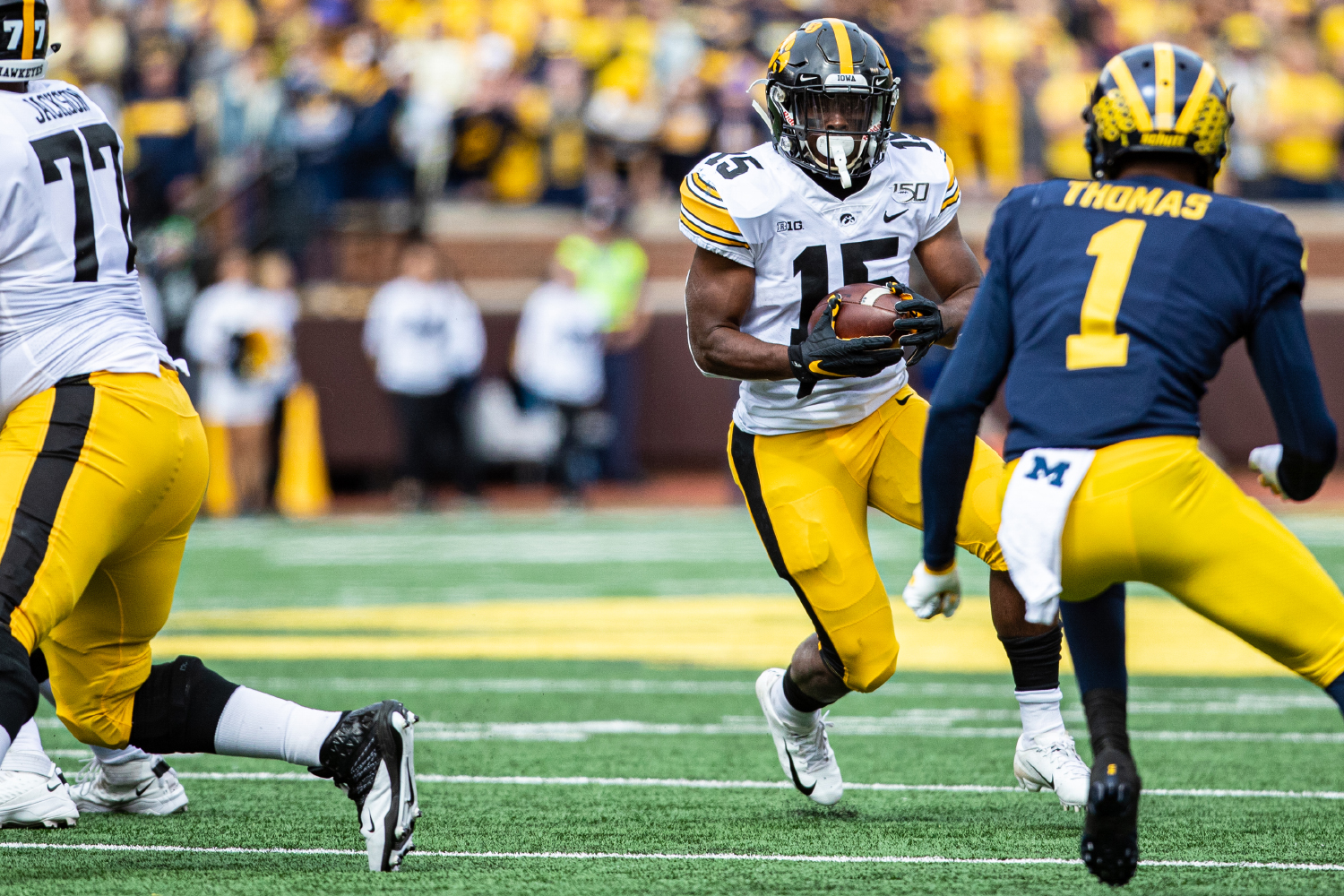 Iowa running back Tyler Goodson carries the ball during a football game between Iowa and Michigan in Ann Arbor on Saturday, October 5, 2019. The Wolverines celebrated homecoming and defeated the Hawkeyes, 10-3. (Shivansh Ahuja/The Daily Iowan)