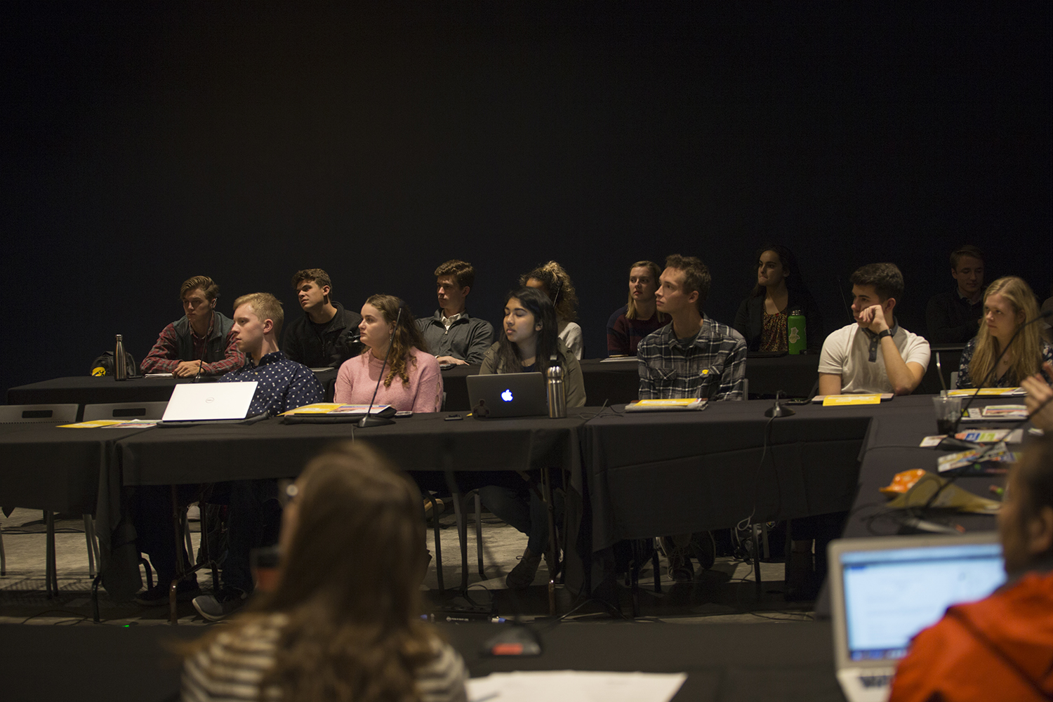 Sentators listen to a presentation during a UISG meeting on Tuesday, Oct. 15, 2019. Senators heard from guest speakers and considered legislation.