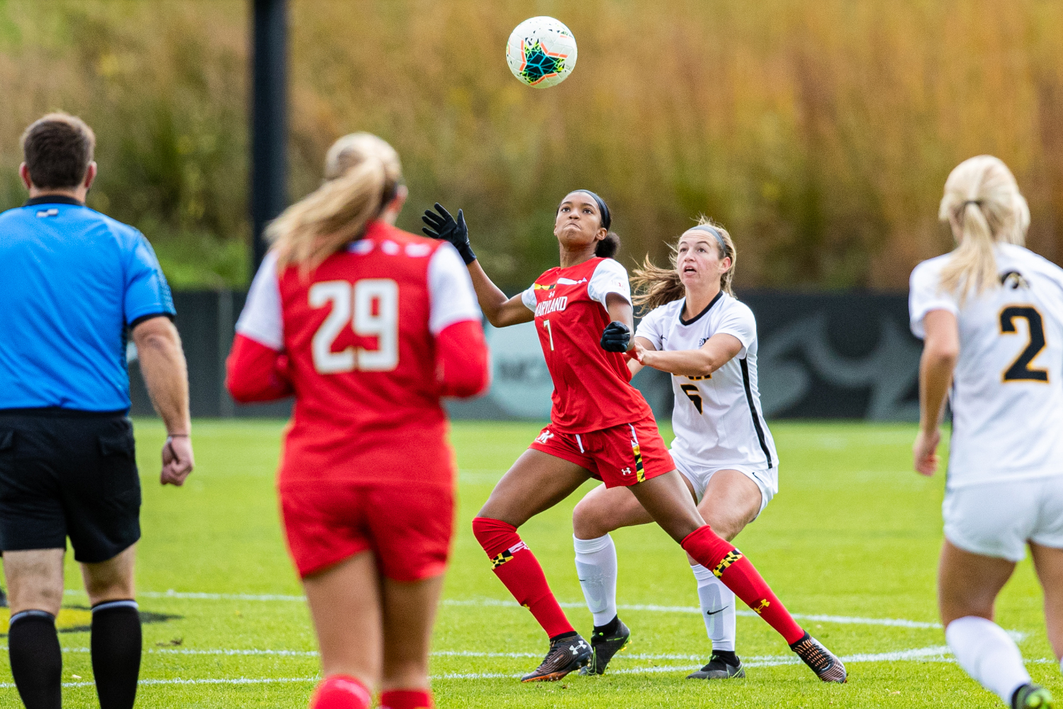 Iowa defender Riley Whitaker and Maryland forward Alyssa Poarch fight for the ball during a women's soccer match between Iowa and Maryland at the Iowa Soccer Complex on Sunday, October 13, 2019. The Hawkeyes shut out the Terrapins, 4-0.