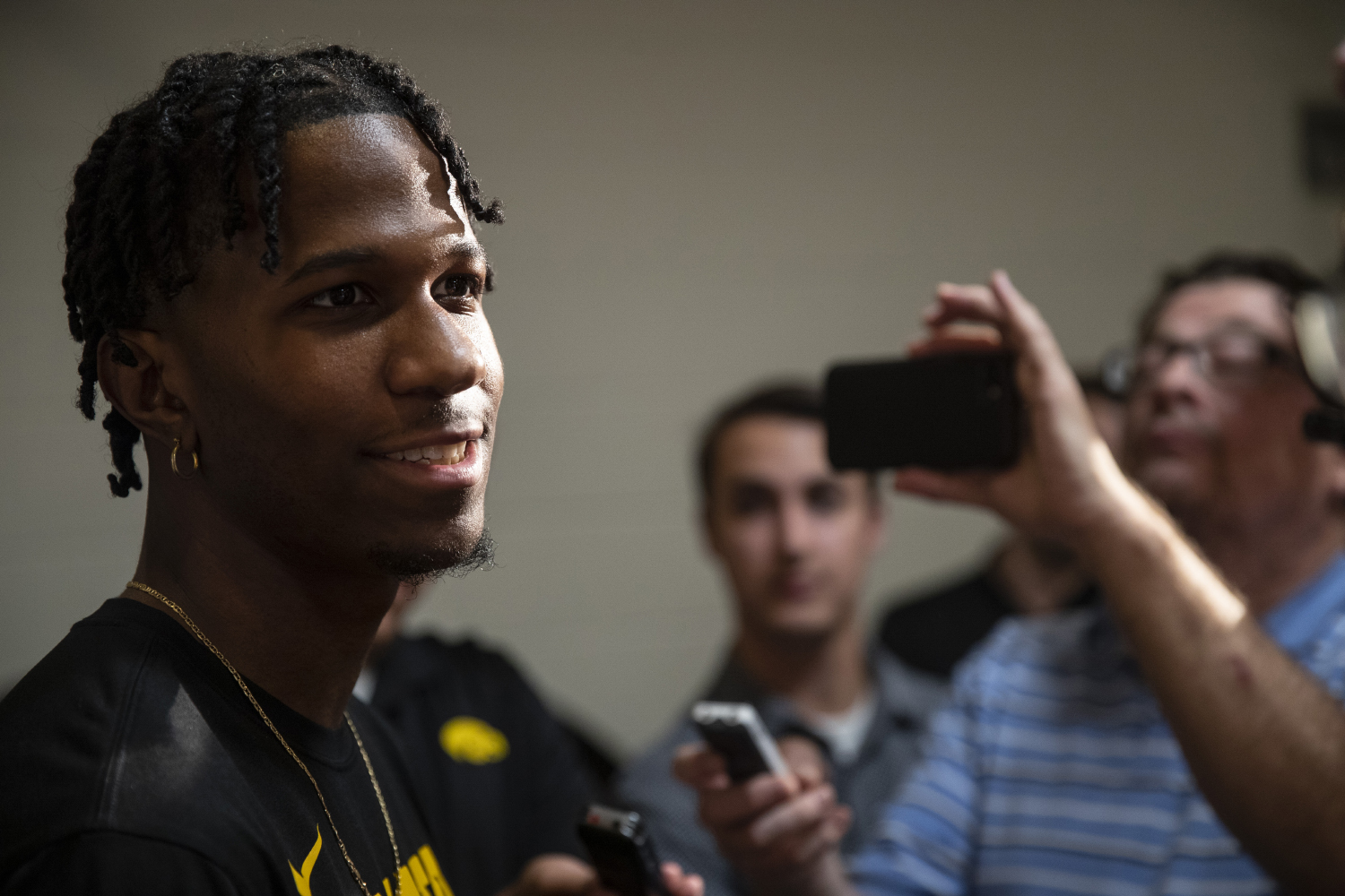 Bakari Evelyn speaks with members of the press during an Iowa men's basketball media availability at Carver-Hawkeye Arena on July 24, 2019.