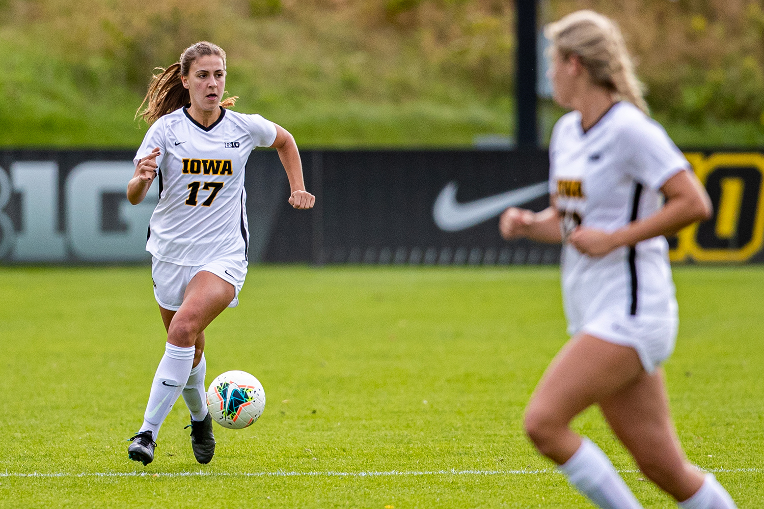 Iowa defender Hannah Drkulec looks to pass during a women's soccer match between Iowa and Maryland at the Iowa Soccer Complex on Sunday, October 13, 2019. The Hawkeyes shut out the Terrapins, 4-0. (Shivansh Ahuja/The Daily Iowan)