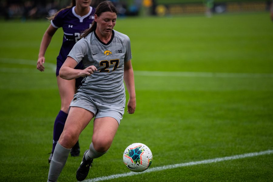 Iowa Forward Samantha Tawharu moves the ball during the Iowa Women's Soccer game versus Northwestern at the Hawkeye Soccer Complex in Iowa City on Sunday, September 29, 2019. The Wildcats defeated the Hawkeyes 2-1 in overtime.