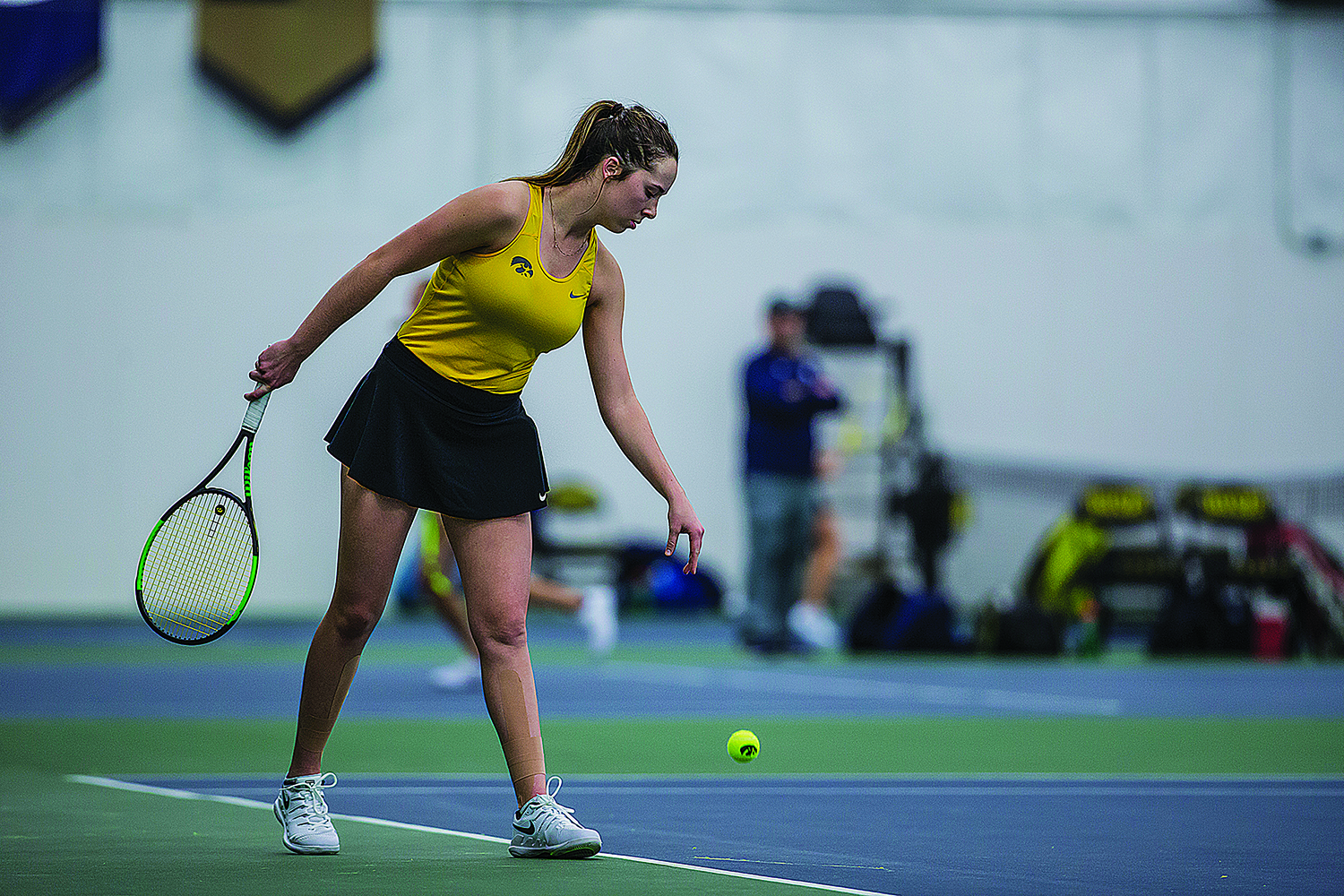 Iowa's Samantha Mannix prepares to serve during a women's tennis match between Iowa and Xavier at the Hawkeye Tennis and Recreation Center on Friday, January 18, 2019. The Hawkeyes swept the Muskateers, 7-0.