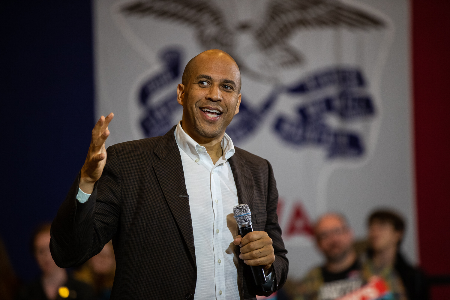 Senator Cory Booker, D-NJ, speaks to an audience during a forum at the Iowa Memorial Union on Monday, October 7, 2019.