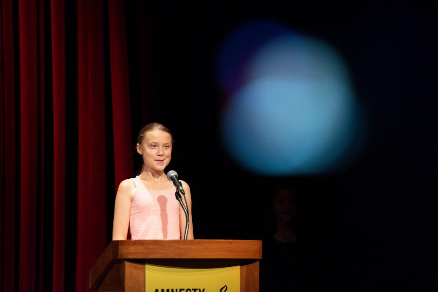 Environmental Activist Greta Thunberg gives an acceptance speach after being awarded Amnesty International's Ambassador of Conscience award ceremony on Sept. 16, 2019 at George Washington University in Washington, D.C. The 16 year old activist Greta Thundberg received the Ambassador of Conscience award, Amnesty International's highest honor for human rights activism, for her work founding the Fridays for Future youth strike movement. (Graeme Sloan/Sipa USA/TNS)