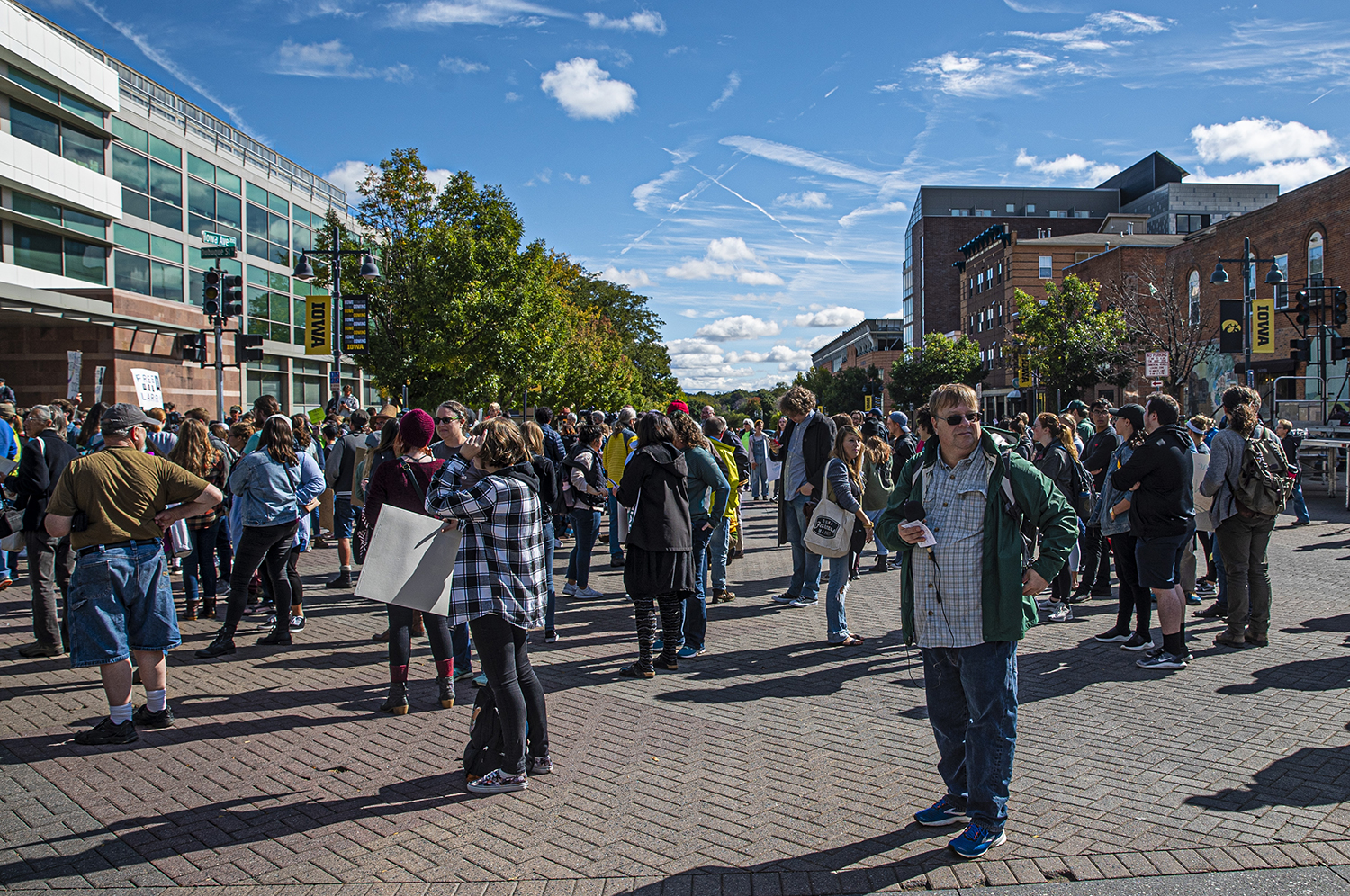 Iowa City citizens gather downtown to listen to Greta Thunberg speak on Friday, October4th, 2019. Greta Thumberg is a teenage climate change activist speaking at a local climate strike.