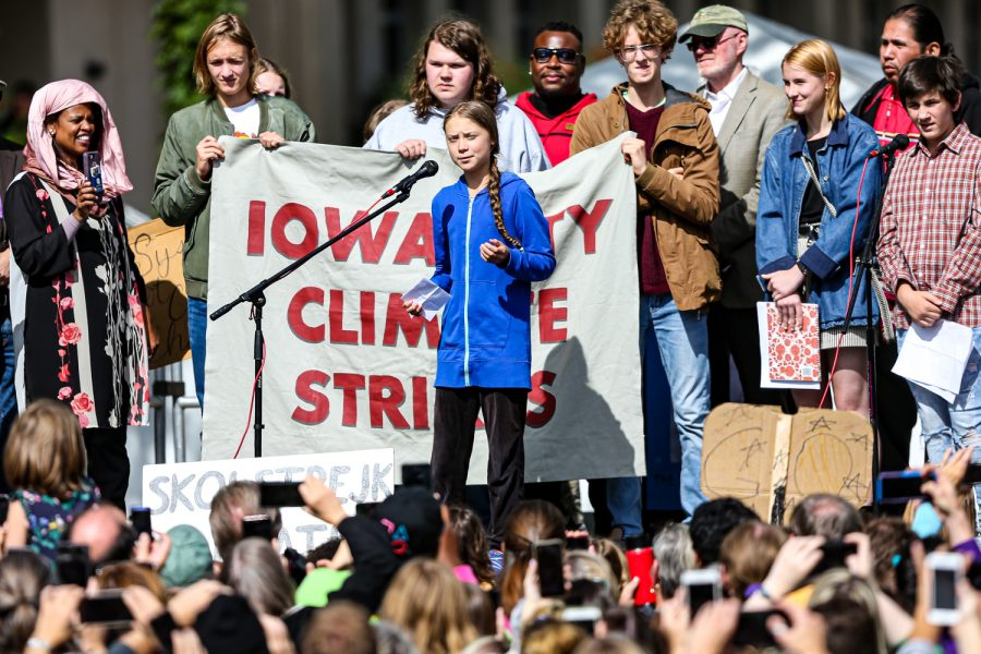 Swedish climate activist Greta Thunberg speaks at the Iowa City Climate Strike in downtown Iowa City on Friday, Oct. 4, 2019. (David Harmantas/For The Daily Iowan)
