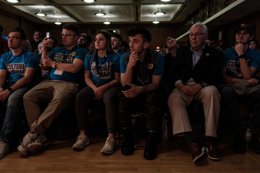 Audience members listen to Turning Point USA Founder Charlie Kirk speak during theCulture War tour at the Iowa Memorial Union on Wednesday, October 23, 2019. Culture War will stop at eight different Turning Point USA chapters on college campuses across the country.