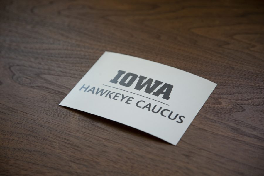 A postcard sits on a table outside the Old Capitol Senate Chambers on Tuesday, Oct. 29, 2019. During a Faculty Senate meeting, members were given cards and encouraged to write to elected officials about the importance of higher education funding.