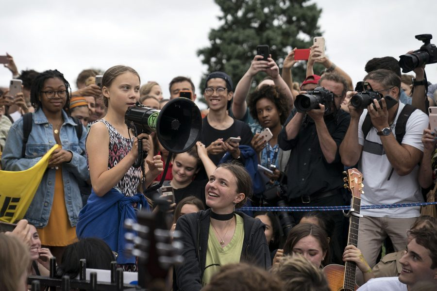 WASHINGTON, DC - SEPTEMBER 13:  Teenage Swedish climate activist Greta Thunberg delivers brief remarks surrounded by other student environmental advocates during a strike to demand action be taken on climate change outside the White House on September 13, 2019 in Washington, DC. The strike is part of Thunberg's six day visit to Washington ahead of the Global Climate Strike scheduled for September 20. (Photo by Sarah Silbiger/Getty Images/TNS)