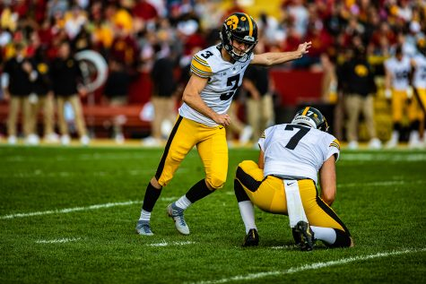Iowa kicker Keith Duncan makes a practice kick during a football game between Iowa and Iowa State at Jack Trice Stadium in Ames on Saturday, September 14, 2019. The Hawkeyes retained the Cy-Hawk Trophy for the fifth consecutive year, downing the Cyclones, 18-17. (Shivansh Ahuja/The Daily Iowan)