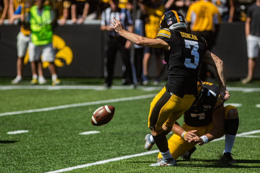 Iowa+kicker+Keith+Duncan+kicks+an+extra+point+during+a+football+game+between+Iowa+and+Rutgers+at+Kinnick+Stadium+on+Saturday%2C+September+7%2C+2019.+The+Hawkeyes+defeated+the+Scarlet+Knights%2C+30-0.+%28Shivansh+Ahuja%2FThe+Daily+Iowan%29
