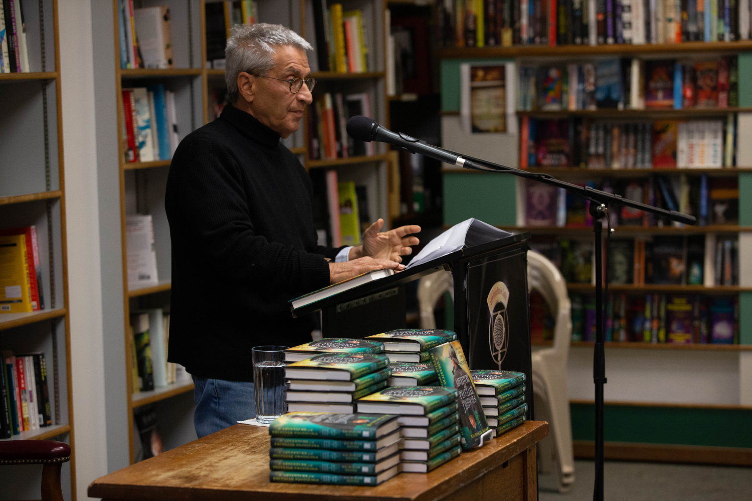 Novelist and University of Iowa alumnus during a reading on Tuesday, Oct. 29, 2019. Meyer has written three other Sherlock Holmes novels, including Seven-per-cent-solution, which was a best seller.