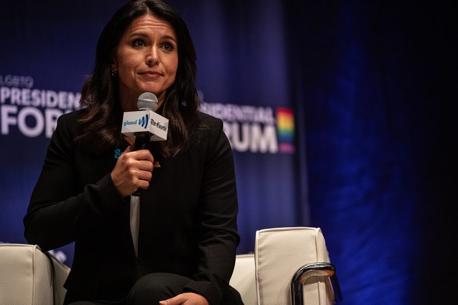 Representative+Tulsi+Gabbard%2C+D-HI%2C+pauses+during+the+L.G.B.T.Q.+Presidential+Forum+at+the+Sinclair+Auditorium+in+Cedar+Rapids+on+Friday%2C+September+20%2C+2019.+Each+candidate+that+participated+was+gave+a+three+minute+introduction%2C+and+answered+questions+for+a+total+of+ten+minutes.