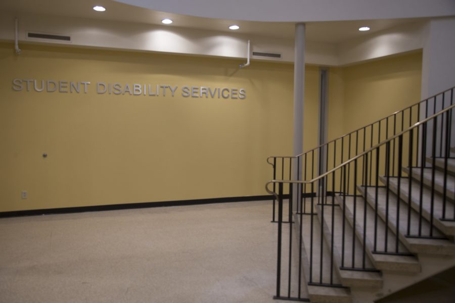 The outside of the UI Student Disability Services office is seen on Wednesday, June 5, 2019. The office is located in the basement of Burge Hall.