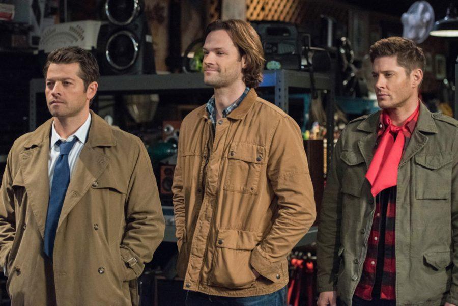 "(L-R) Misha Collins as Castiel, Jared Padalecki as Sam and Jensen Ackles as Dean in ""Supernatural."" ( Dean Buscher/The CW)"