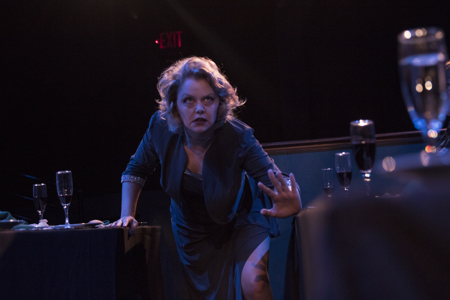 """Megan Gogerty rehearses scenes from """"Feast"""" during photo call at Riverside Theater on Tuesday, Oct. 22, 2019. """"Feast"""" is a one-woman show and is interactive with the audience."""