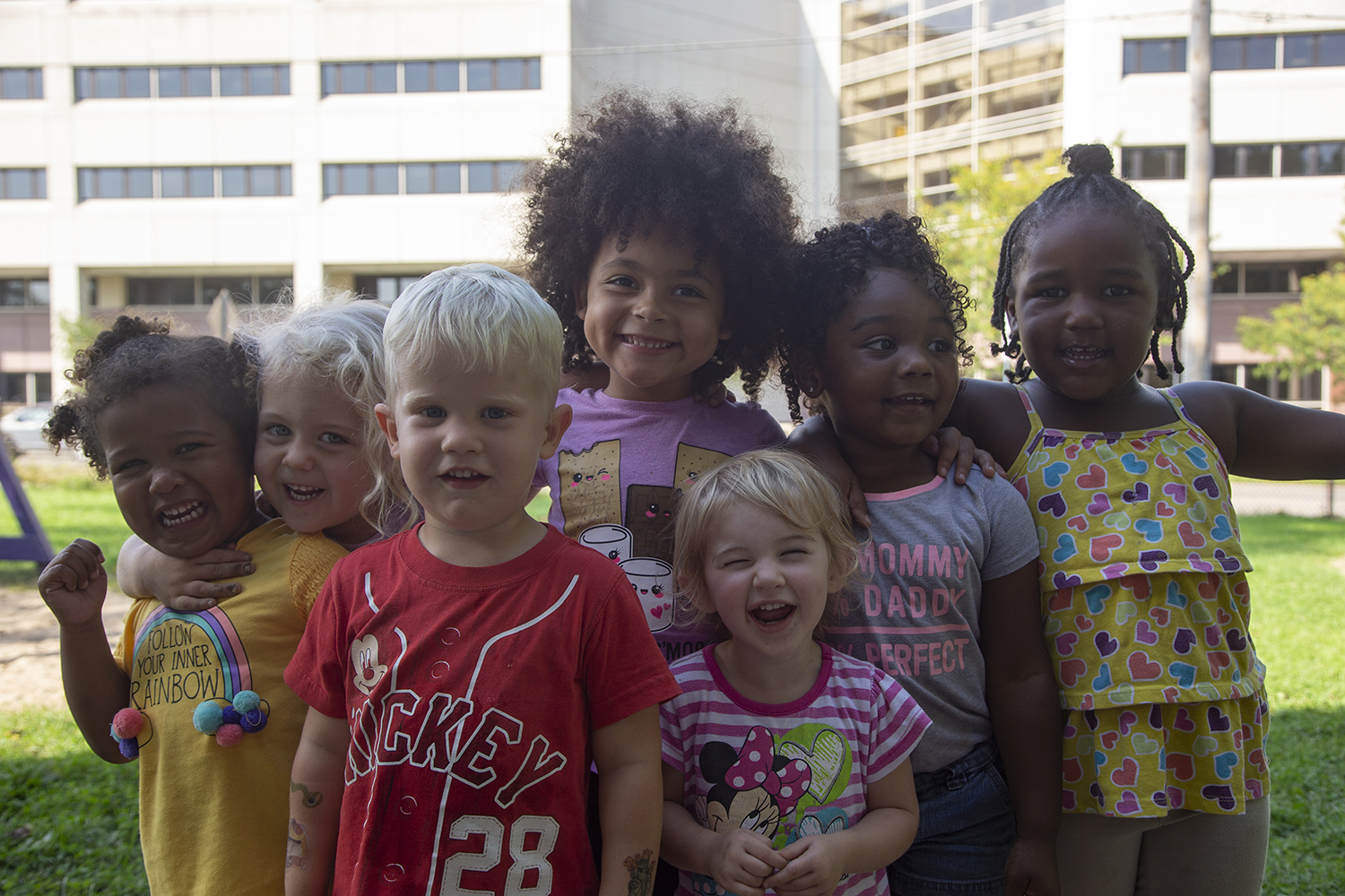 Children pose for their picture at Melrose Day Care Center on Monday Sept. 30, 2019. The child care center hopes to have infant care in a building near campus, but are facing financial setbacks.