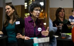 City Council candidates Laura Bergus (left), Janice Weiner (center) and Megan Alter speak with potential supports at the UISG City Council Forum on Wednesday, Oct. 16, 2019. Bergus, Weiner, and Alter are running for two at-large City Council seats.
