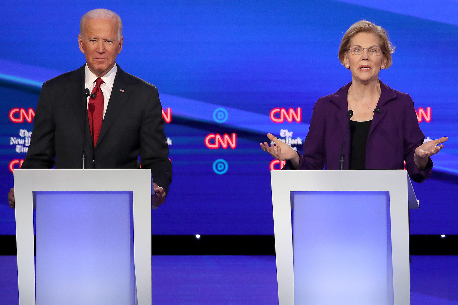 Former Vice President Joe Biden and Sen. Elizabeth Warren (D-Mass.) during the Democratic Presidential Debate at Otterbein University on Tuesday, Oct. 15, 2019, in Westerville, Ohio. (Win McNamee/Getty Images/TNS)