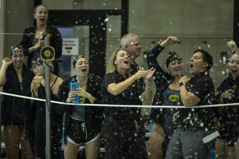 University of Iowa swimmers cheer as their teammates compete in the Men's 200 Freestyle during a swim meet between Iowa and Minnesota at the CRWC on Oct. 26. Iowa's Aleksey Tarasenko won the event with a time of 44.21.