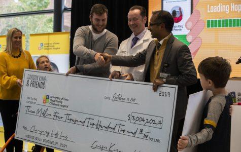 Carson King presents $3 million to UI Stead Family Children's Hospital