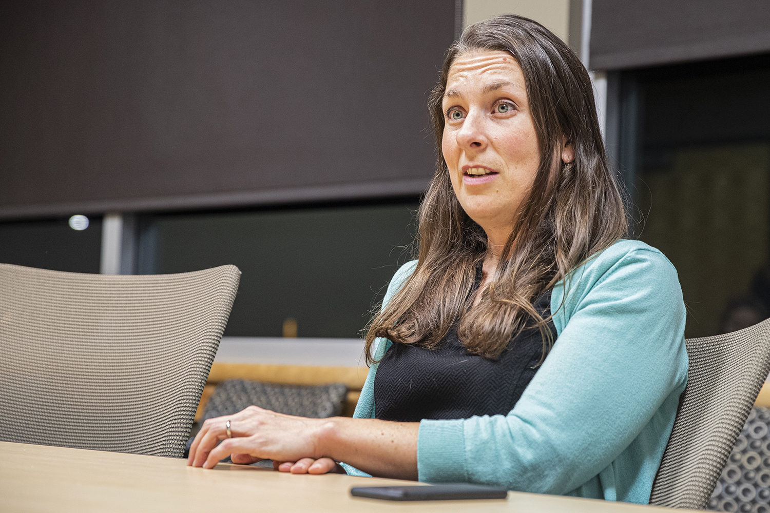 City Council candidate Laura Bergus sits down for an interview with The Daily Iowan in the Adler Journalism Building on Monday, Oct. 21, 2019.