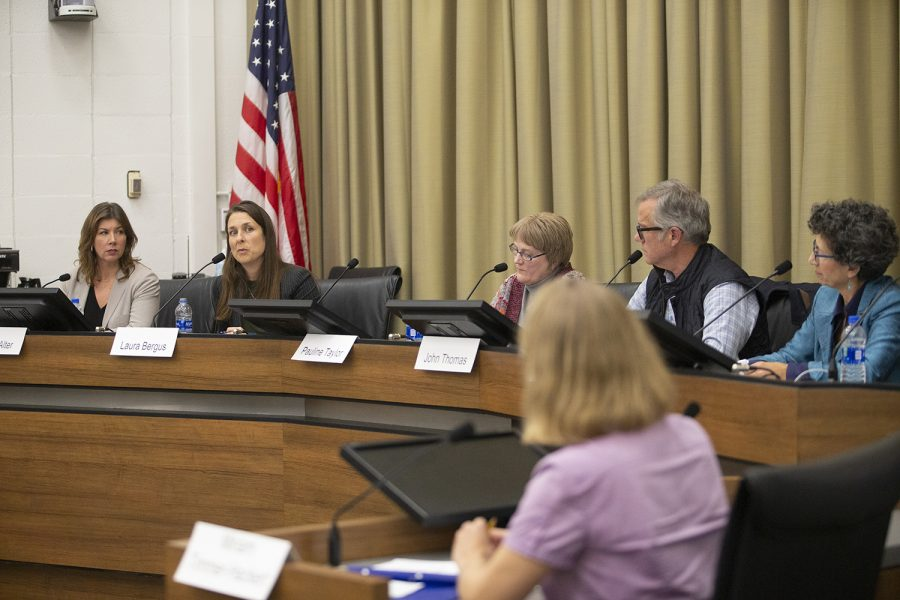 City Council Candidate Laura Bergus answers a question at the Iowa City Council election forum in City Hall on Tuesday, October 22nd, 2019. The candidates were asked questions on a variety of issues including affordable housing, the future of public transport, racially disproportionate police stops, and human trafficking.