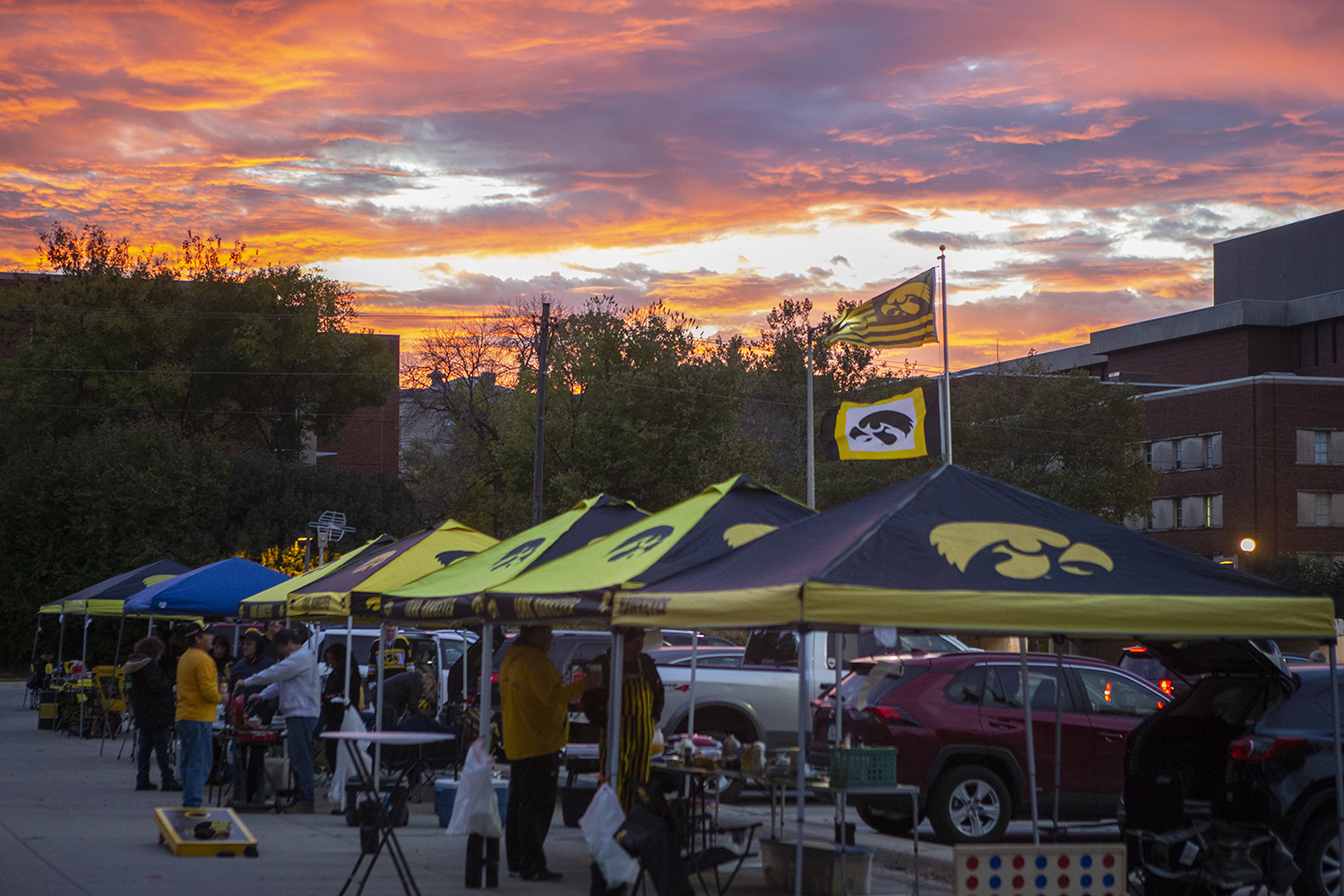 Hawkeye fans gather in the Main Library parking lot for tailgate festivities before the Iowa vs. Purdue game at sunrise on Saturday, October 19th, 2019. Iowa was ranking 23rd in the AP Collegiate Football Ranking poll.