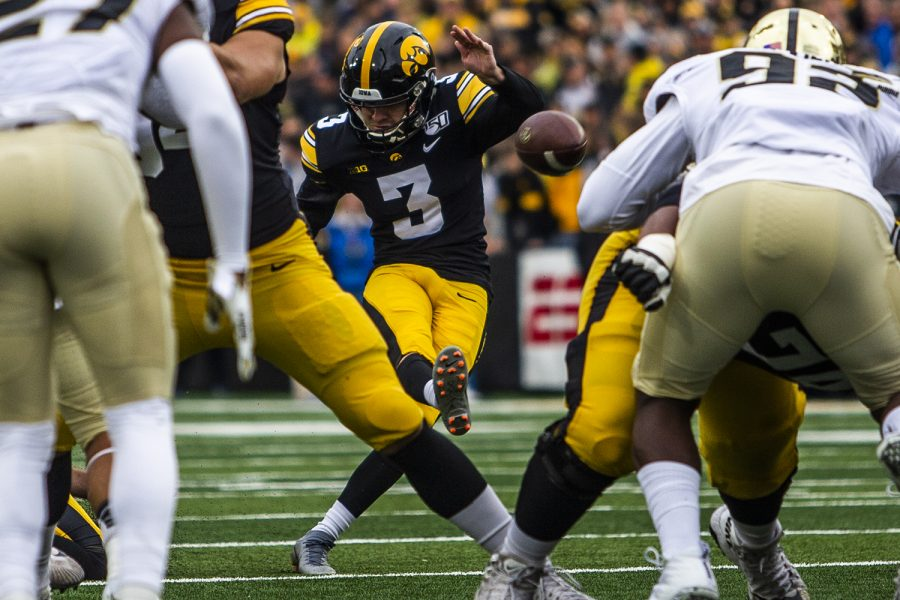 Iowa kicker Keith Duncan punts the ball during the game against Purdue on Saturday, October 19, 2019.