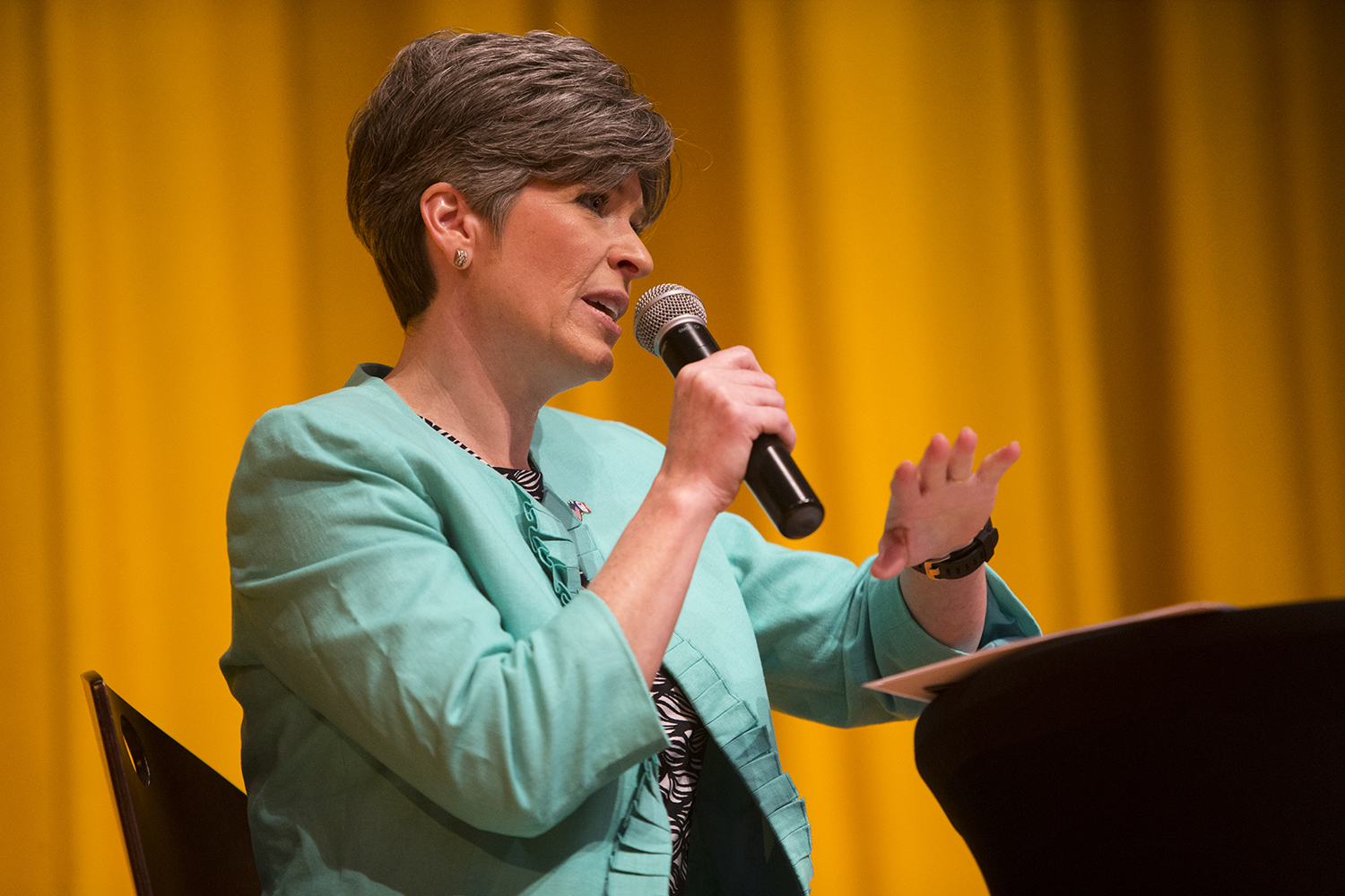 Sen. Joni Ernst, R-Iowa, speaks during a town hall meeting in Sinclair Auditorium in Cedar Rapids on the Coe College campus on Friday, March 17, 2017.  Ernst is completing her 99 county tour and will speak again in Des Moines at 5 p.m. at Drake University.