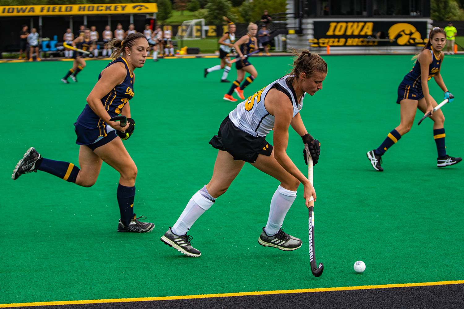 Iowa defender Esme Gibson makes a pass during a field hockey match between Iowa and California on Friday, September 13, 2019. The Hawkeyes defeated the Bears, 4-2. (Shivansh Ahuja/The Daily Iowan)