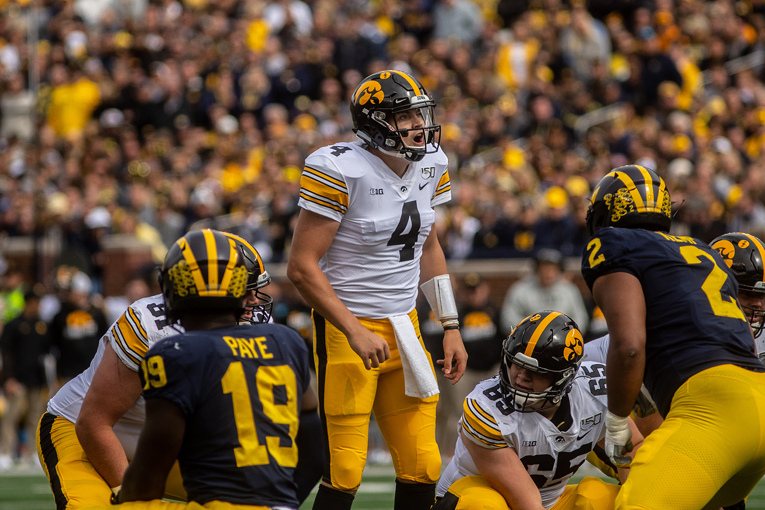 Iowa quarterback Nate Stanley yells out before a play during a football game between Iowa and Michigan in Ann Arbor on Saturday, October 5, 2019. The Wolverines defeated the Hawkeyes 10-3.