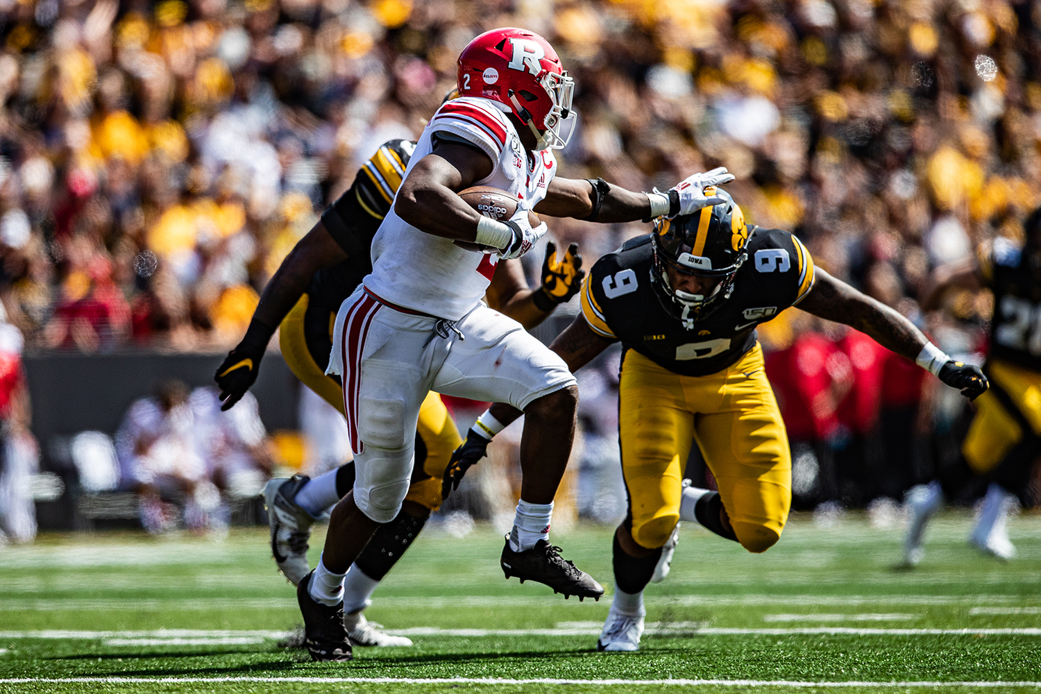 Iowa defensive back Geno Stone goes for a tackle during a football game between Iowa and Rutgers at Kinnick Stadium on Saturday, September 7, 2019. The Hawkeyes defeated the Scarlet Knights, 30-0.