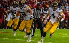 Iowa quarterback Nate Stanley carries the ball during a football game between Iowa and Iowa State at Jack Trice Stadium in Ames on Saturday, September 14, 2019. The Hawkeyes retained the Cy-Hawk Trophy for the fifth consecutive year, downing the Cyclones, 18-17.