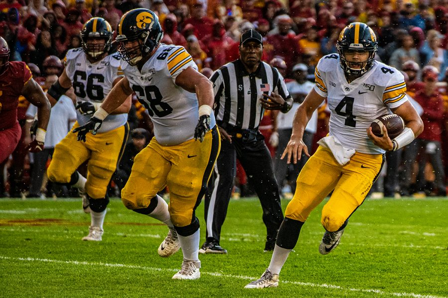 Iowa+quarterback+Nate+Stanley+carries+the+ball+during+a+football+game+between+Iowa+and+Iowa+State+at+Jack+Trice+Stadium+in+Ames+on+Saturday%2C+September+14%2C+2019.+The+Hawkeyes+retained+the+Cy-Hawk+Trophy+for+the+fifth+consecutive+year%2C+downing+the+Cyclones%2C+18-17.+