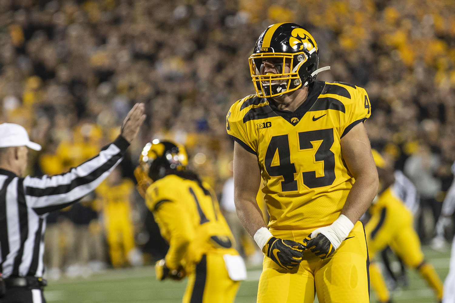 LB Dillon Doyle celebrates during the Iowa football vs. Penn State game in Kinnick Stadium on Saturday, Oct. 12, 2019. The Nittany Lions defeated the Hawkeyes 17-12.