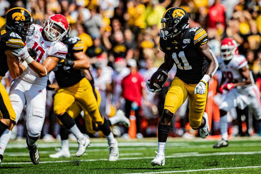 Iowa defensive back Michael Ojemudia runs back an interception during a football game between Iowa and Rutgers at Kinnick Stadium on Saturday, September 7, 2019. The Hawkeyes defeated the Scarlet Knights, 30-0.