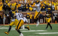 Iowa defensive back Geno Stone attempts to intercept a pass during a football game between Iowa and Michigan in Ann Arbor on Saturday, October 5, 2019. The Wolverines defeated the Hawkeyes 10-3.