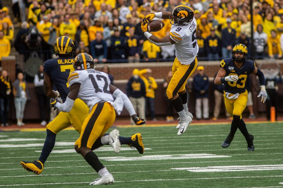 Iowa+defensive+back+Geno+Stone+attempts+to+intercept+a+pass+during+a+football+game+between+Iowa+and+Michigan+in+Ann+Arbor+on+Saturday%2C+October+5%2C+2019.+The+Wolverines+defeated+the+Hawkeyes+10-3.+