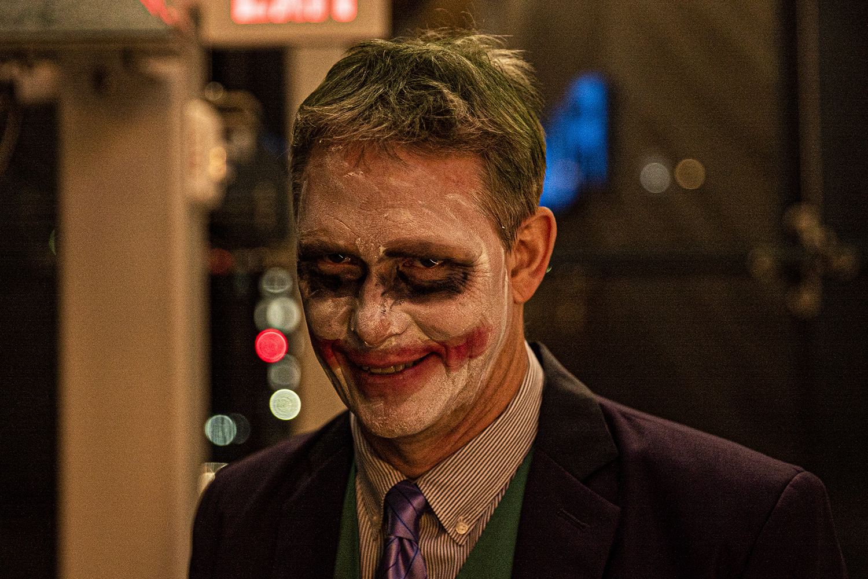 Iowa City citizen Hans House poses for a portrait at Filmscene on Thursday, October 3rd, 2019. Hans dressed as The Joker for the premier screening of the new Joker film.