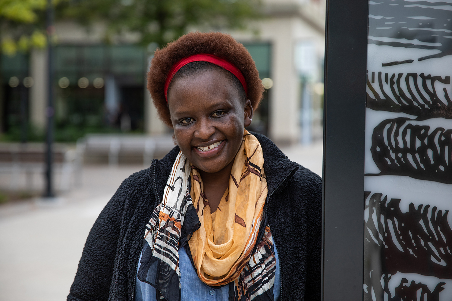 Ph.D. student Barbara Kagima poses for a portrait in downtown Iowa City on October 6th, 2019. Kagima is studying the treatment of hypertension and public health awareness in Kenyan villages.