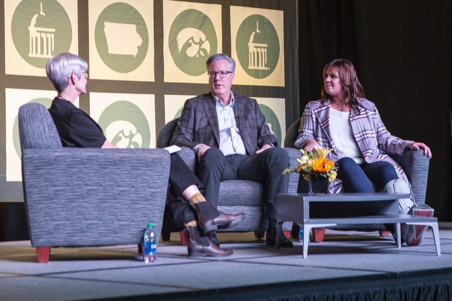 Fran+and+Margret+McCaffery+discuss+philanthopy+at+the+IMU+on+Tuesday%2C+October+15th%2C+2019.+After+their+son+Patrick+McCaffery+was+diagnosed+with+cancer%2C+they+began+philanthropic+work+with+the+American+Cancer+Society+and+Coaches+vs.+Cancer.+