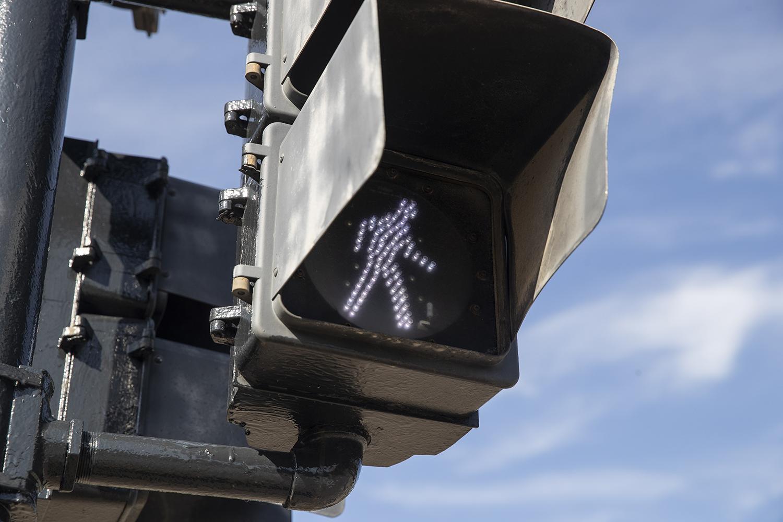 A crosswalk light is seen on Madison Street on Monday Sept. 30, 2019.