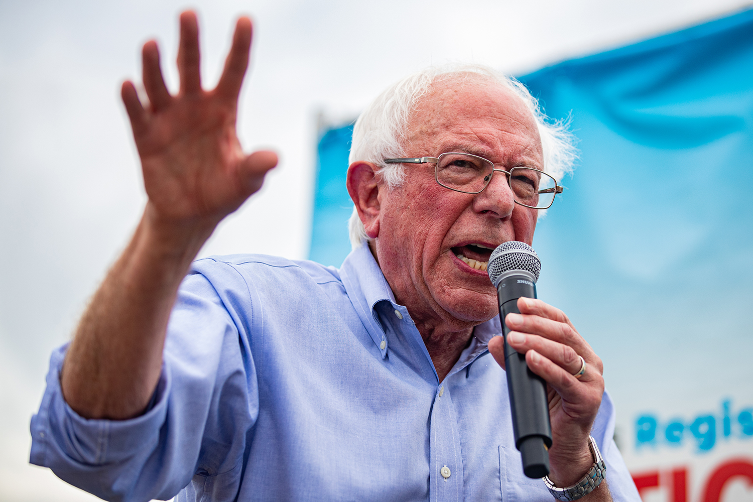 Sen. Bernie Sanders, I-VT, speaks at the Des Moines Register Political Soapbox during the Iowa State Fair in Des Moines, IA on Sunday, August 11, 2019.