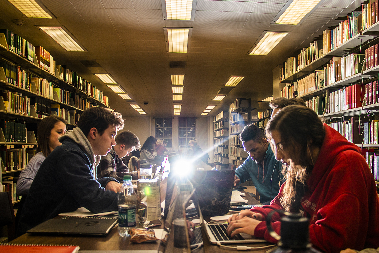 Students study for their finals in the main library on Monday, December 10, 2018.