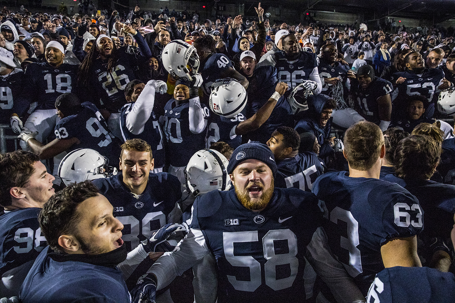 Penn State players celebrate in front of the student section  after Iowa's game against Penn State at Beaver Stadium on Saturday, October 27, 2018. The Nittany Lions defeated the Hawkeyes 30-24.