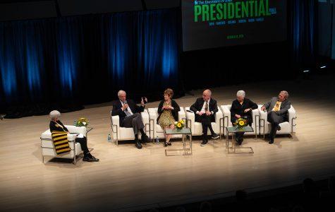 Head Hawkeyes reunite for UI presidential panel during Homecoming week