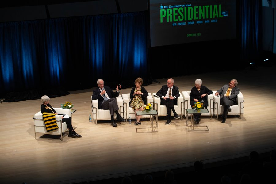 Former+UI+President+Hunter+Rawlings+%281988-2015%29+speaks+during+a+panel+discussion+by+four+former+University+of+Iowa+Presidents+and+current+UI+President+Bruce+Harreld+on+Friday%2C+Oct.+18%2C+2019+in+the+Voxman+concert+hall.+The+event+coincided+with+the+unveiling+of+portraits+of+former+UI+Presidents+Mary+Sue+Coleman%2C+David+Skorton%2C+and+Sally+Mason%2C+which+will+be+on+display+on+the+fifth+floor+of+the+UI+Main+Library.+