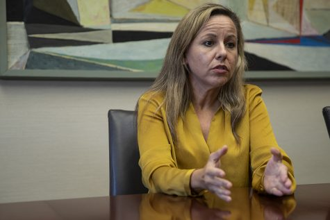Provost Montserrat Fuentes speaks during an interview with The Daily Iowan in Jessup Hall on Monday Sept. 30, 2019. Fuentes addressed topics including diversity of campus and student enrollment.